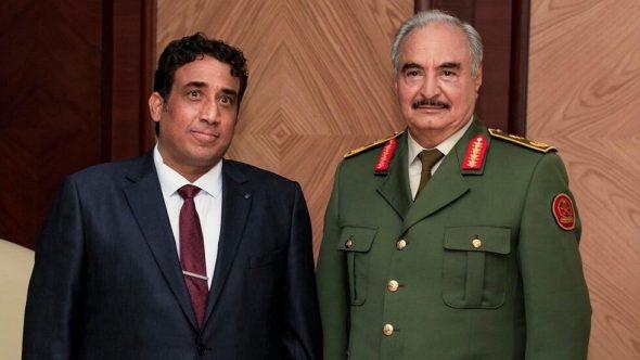 خلال لقاء مع المنفي.. حفتر يؤكد دعم جيشه للسلطات الجديدة